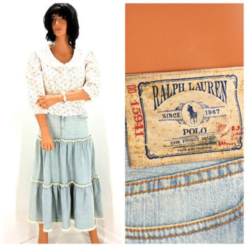 Vintage 70s POLO Ralph Lauren denim skirt size 5 / 6, 1970s denim prairie skirt, Lauren frayed jean skirt, SunnyBohoVintage