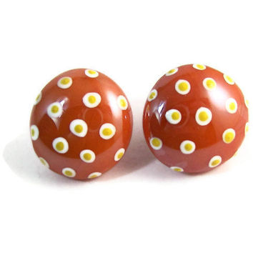 White and Yellow Polka Dot Hand Painted Orange Glass Stone Pebble Post Stud Earrings