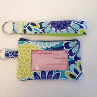 Id wallet blue and green floral
