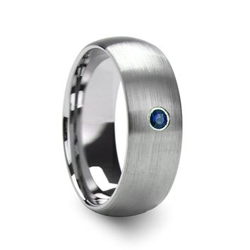 Tungsten Carbide Wedding Band with Blue Diamond, Domed, Brushed