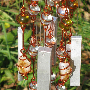 Citrine (November Birthstone) Windchime with Recycled Aluminum and Copper Wrapped Clear and Yellow Glass Marble Prisms