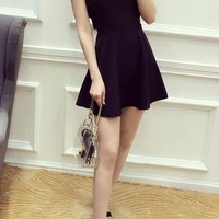 Black Plain Draped Round Neck Fashion Polyester Mini Dress