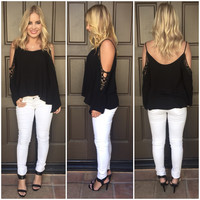 Tropics Off Shoulder Blouse - Black