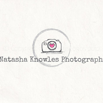 Custom Photography logo design - sketched camera logo watermark. Camera logo Vector and watermark files included.