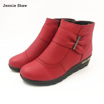 Winter women shoes cotton-padded wedge boots genuine leather ankle boots