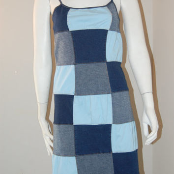 Vintage denim dress / patchwork denim jumper / vintage hippie dress / Cheapvintagefashion