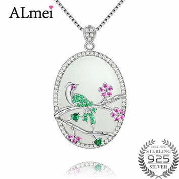 Almei Harmonious Jade Bird on the Branches Lucky Pendant in China 925 Sterling Silver Fine Jewelry Wedding Gifts with Box CN048