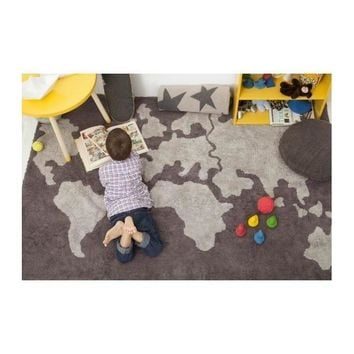 World Map Washable Rug - Kids Area Rug