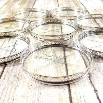 Mid Century Sterling Silver and Etched Glass Coasters with Starburst Design by Web