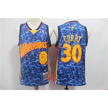 Bape x NBA Golden State Warriors 30 Stephen Curry Mitchell & Ness Hardwood Classics Jerseys - Best Deal Online