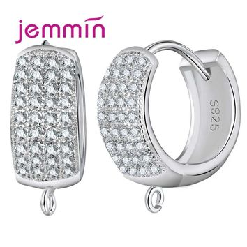 Jemmin Big Promotion 10PCS Sparkly Wide Hoop Earrings for Women 925 Sterling Silver Crystal Jewelry Accessories White Bijoux