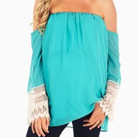 Aqua Open Shoulder Crochet Trim Sleeve Maternity Top