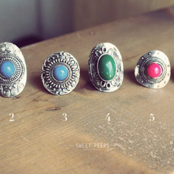 Stone Ring, Hipster Ring, Cool Ring, Turquoise Jewelry, Simple Turquoise Ring