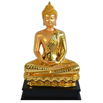 Golden 17 Inches Thai Buddha Meditating Peace Harmony Statue