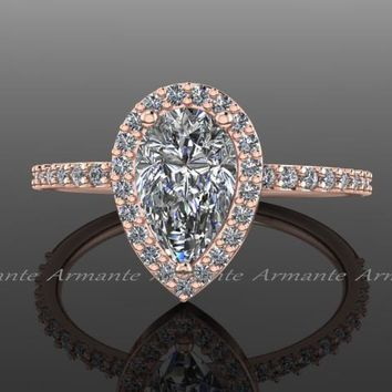 Pear Moissanite Wedding Ring Rose Gold Diamond Bridal Ring