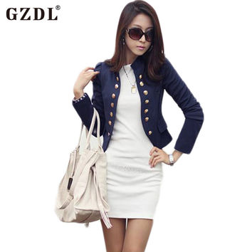 GZDL Spring Autumn Cardigan  Long Sleeve Double Breasted Coat Casual Short Top Slim Fitted Blazers Jackets Feminino CL1076