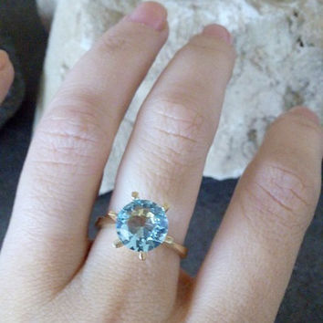 SALE! Blue topaz jewelry,delicate ring,gold ring,small prong ring, topaz ring,gemstone ring,customize rings