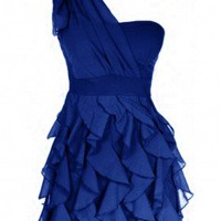 The Manhattan Blue Ruffle Dress - 29 and Under