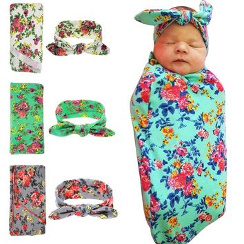 Newborn swaddle Top knot headband Swaddle & headwrap Newborns photo prop Hospital set Nursing cover gift stretchy 1set HB568