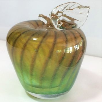 Blown Art Glass Bermuda Apple Paperweight, Transparent Hollow Fruit Paper Weight, Green to Amber Gradation, Office Home Decor 818