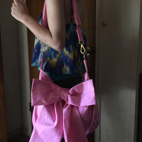 Big Bow Black or pink Shoulder bag Across the Body Adjustable Strap Boho H0b0 Large Slouchy bag Meduim or Large size with divider pocket