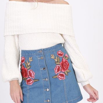 Denim Rose Embroidered Mini Skirt