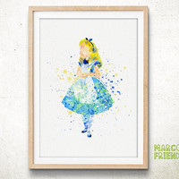 Alice , Alice in Wonderland - Watercolor, Art Print, Home Wall decor, Watercolor Print, Disney Princess Poster