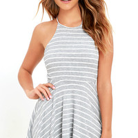 In Formation Heather Grey Striped Lace-Up Dress