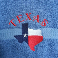 Texas Embroidered Hand Towel
