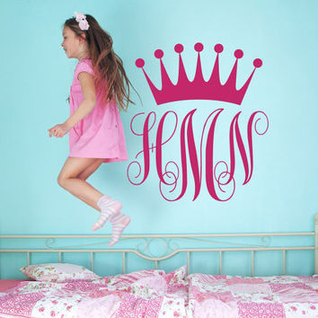 Girl Monogram Decal -  Princess Crown Wall Decal - Monogram Sticker - Vinyl Lettering - Nursery Over Crib Decor - Custom Decals T63
