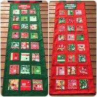 CIJ SALE Festive themed fabric Christmas Advent Calendar with personalised name. 24 fabric pockets to hold all those goodies. Custom made wi