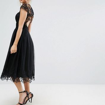 Chi Chi London Petite Premium Lace Midi Prom Dress with Lace Neck at asos.com