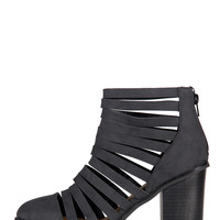 Slashed Booties - Black - 9 - Black /