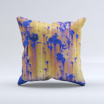 Hot Orange Metal with Royal Blue Rust  Ink-Fuzed Decorative Throw Pillow