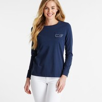 Long-Sleeve Whale Graphic Pocket Tee