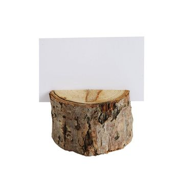 Wood Slice Place Holders with Cards