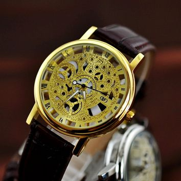Vintage Leather Strap Automatic Mechanical Watch Men