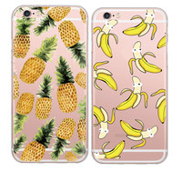 New Clear Soft TPU Fruit Case Cute Banana Pineapple Pattern Phone Shell For iphone 6 6s Plus Surface Gel Skin Back Phone Cover