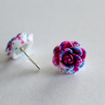 Colorful Rose Stud Earrings Cute 13mm Multicolor, Pink, Black, Blue Grunge Girly Silver Post Studs