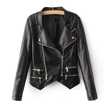 Leather Jacket Women Jackets Coat Slim Biker Motorcycle Soft Zipper girl PU Leather Jaquetas De Couro feminina women's clothing