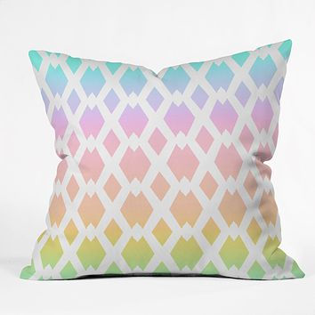 Lisa Argyropoulos Daffy Lattice Pastel Rainbow Throw Pillow