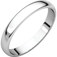 Palladium 3mm Half Round Light Wedding Band Ring - Bridal Jewelry: RingSize: 50