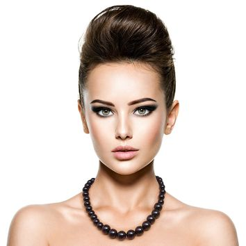 Gold with Black Graduated Pearl Single Strand Necklace Set