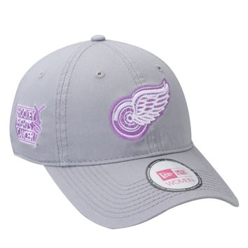 Women's Detroit Red Wings New Era Gray Enforcer Hockey Fights Cancer Adjustable Hat