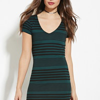 Striped V-Neck Dress