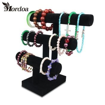 2016 Free Delivery Brand new high quality 3-Tier Velvet Watch Bangle Bracelet Jewelry Display Holder Stand Rack Showcase Display