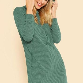Ribbed Hooded Green Sweater Dress