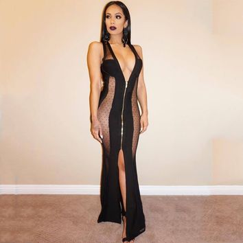 Anself Sexy Women Maxi Dress Sheer Mesh Deep V Sleeveless Split Transparent Dress Zip Slim Party Club Long Dress Black Clubwear
