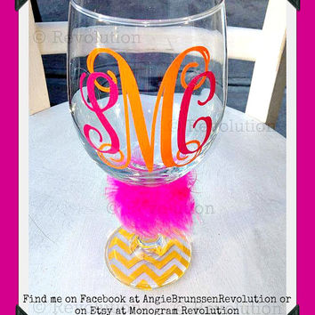 Personalized Customized Monogrammed Wine Glass 2 color Vine Monogram You pick colors and bottoms Perfect Gift for Friends Brides or Yourself