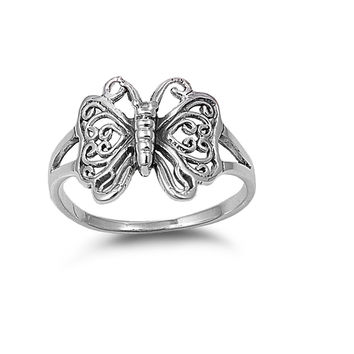 925 Sterling Silver Butterlfy 15MM Ring